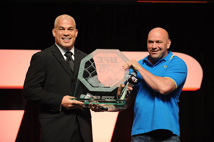 LAS VEGAS, NV - JULY 7:   (L-R) Tito Ortiz accepts the UFC Hall of Fame trophy from UFC President Dana White during the UFC Fan Expo at the Mandalay Bay Convention Center on July 7, 2012 in Las Vegas, Nevada.  (Photo by Al Powers/Zuffa LLC/Zuffa LLC via Getty Images)  *** Local Caption ***