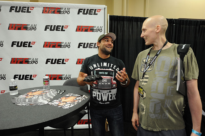 LAS VEGAS, NV - JULY 06:  Johny Hendricks interacts with fans at the UFC Fan Expo on July 6, 2012 in Las Vegas, Nevada. (Photo by Al Powers /Zuffa LLC/Zuffa LLC via Getty Images)