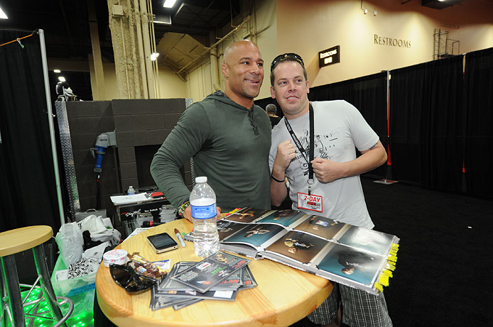 LAS VEGAS, NV - JULY 7:   Frank Trigg poses with fans during the UFC Fan Expo at the Mandalay Bay Convention Center on July 7, 2012 in Las Vegas, Nevada.  (Photo by Al Powers/Zuffa LLC/Zuffa LLC via Getty Images)  *** Local Caption ***