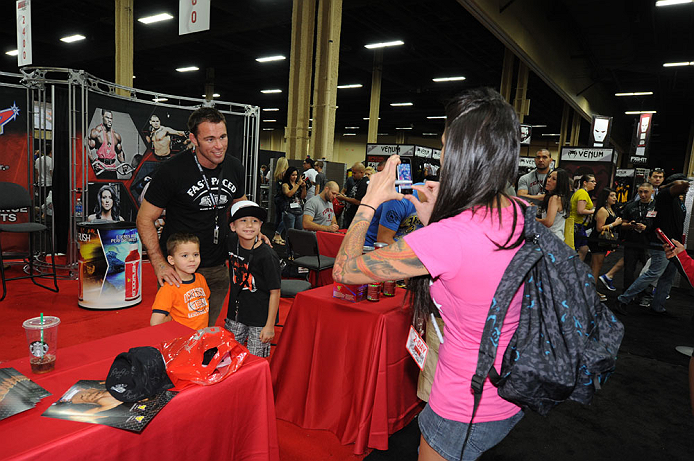 LAS VEGAS, NV - JULY 7:  Jake Shields poses with fans during the UFC Fan Expo at the Mandalay Bay Convention Center on July 7, 2012 in Las Vegas, Nevada.  (Photo by Al Powers/Zuffa LLC/Zuffa LLC via Getty Images)  *** Local Caption ***