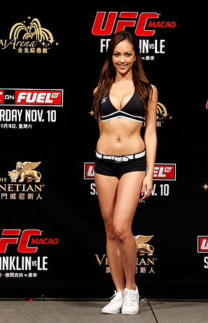 MACAU, MACAU - NOVEMBER 09:  UFC Octagon Girl Jessica Cambensy stands on stage during the UFC Macau weigh in at Cotai Arena on November 9, 2012 in Macau, Macau.  (Photo by Josh Hedges/Zuffa LLC/Zuffa LLC via Getty Images)