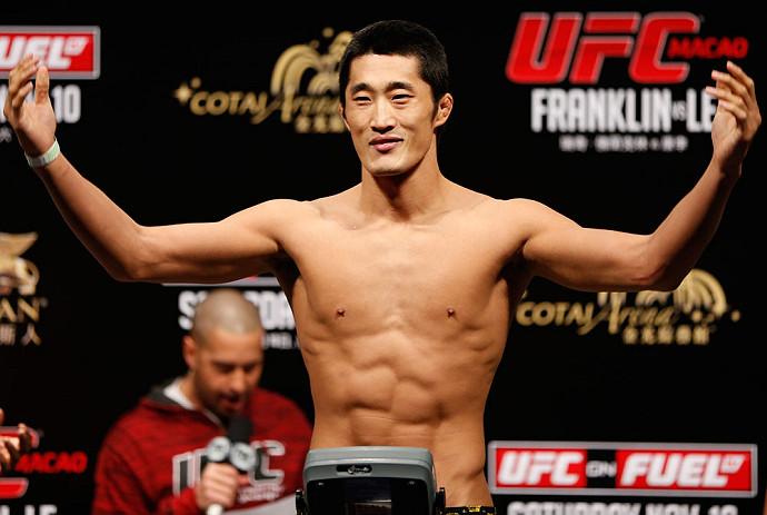 MACAU, MACAU - NOVEMBER 09:  Dong Hyun Kim makes weight during the UFC Macau weigh in at Cotai Arena on November 9, 2012 in Macau, Macau.  (Photo by Josh Hedges/Zuffa LLC/Zuffa LLC via Getty Images)