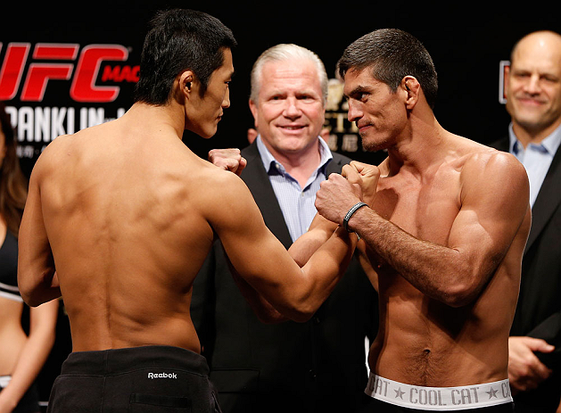 MACAU, MACAU - NOVEMBER 09:  (L-R) Opponents Dong Hyun Kim and Paulo Thiago face off during the UFC Macau weigh in at Cotai Arena on November 9, 2012 in Macau, Macau.  (Photo by Josh Hedges/Zuffa LLC/Zuffa LLC via Getty Images)
