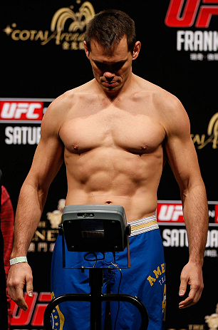 MACAU, MACAU - NOVEMBER 09:  Rich Franklin makes weight during the UFC Macau weigh in at Cotai Arena on November 9, 2012 in Macau, Macau.  (Photo by Josh Hedges/Zuffa LLC/Zuffa LLC via Getty Images)