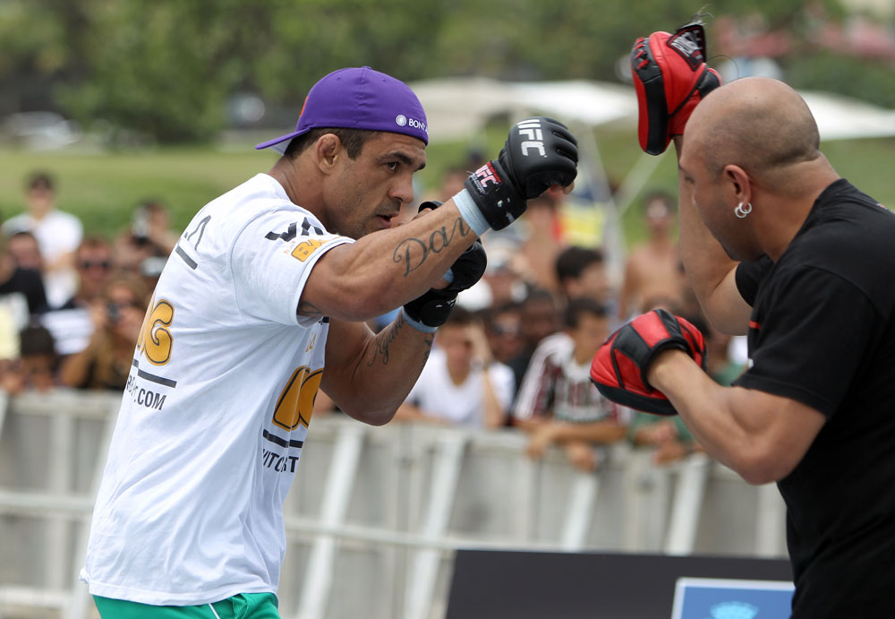 RIO DE JANEIRO, BRAZIL - JANUARY 11:  Vitor Belfort works out for the media and fans during the UFC 142 Open Workouts at Barra de Tijuca Beach on January 11, 2012 in Rio de Janeiro, Brazil.  (Photo by Josh Hedges/Zuffa LLC/Zuffa LLC via Getty Images)