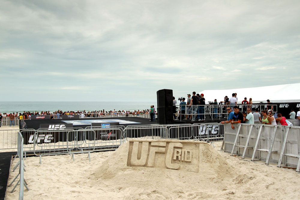 RIO DE JANEIRO, BRAZIL - JANUARY 11:  A general view of the mat area before the UFC 142 Open Workouts at Barra de Tijuca Beach on January 11, 2012 in Rio de Janeiro, Brazil.  (Photo by Josh Hedges/Zuffa LLC/Zuffa LLC via Getty Images)