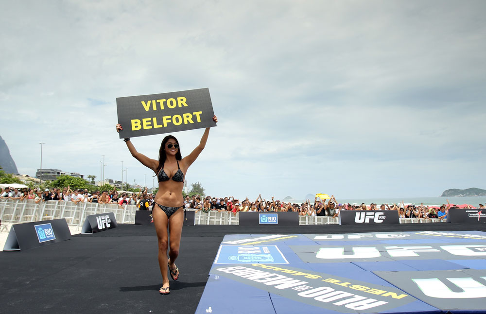 RIO DE JANEIRO, BRAZIL - JANUARY 11:  UFC Octagon Girl Arianny Celeste attends the UFC 142 Open Workouts at Barra de Tijuca Beach on January 11, 2012 in Rio de Janeiro, Brazil.  (Photo by Josh Hedges/Zuffa LLC/Zuffa LLC via Getty Images)