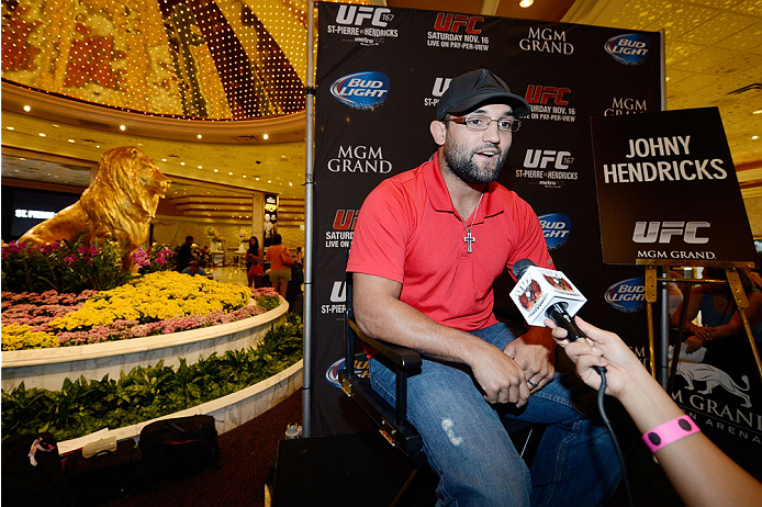 LAS VEGAS, NV - JULY 29:  Johny Hendricks speaks to the media during the UFC World Tour 2013 press conference in the lobby of the MGM Grand Hotel/Casino on July 29, 2013 in Las Vegas, Nevada. Johny Hendricks will challenge Georges St-Pierre for the UFC welterweight championship November 16th at UFC 167 in Las Vegas.  (Photo by Jeff Bottari/Zuffa LLC/Zuffa LLC via Getty Images)