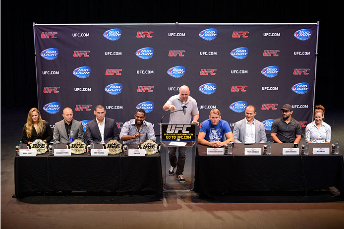 LOS ANGELES, CA - JULY 30:  UFC president Dana White hosts a live press conference with (L-R) UFC women's bantamweight champion Ronda Rousey, UFC welterweight champion Georges St-Pierre, UFC heavyweight champion Cain Valasquez, UFC light heavyweight champion Jon Jones, Alexander Gustafsson, Junior Dos Santos, Johny Hendricks and Miesha Tate during the UFC World Tour 2013 at Club Nokia at L.A. Live on July 30, 2013 in Los Angeles, California.  (Photo by Jeff Bottari/Zuffa LLC/Zuffa LLC via Getty Images)