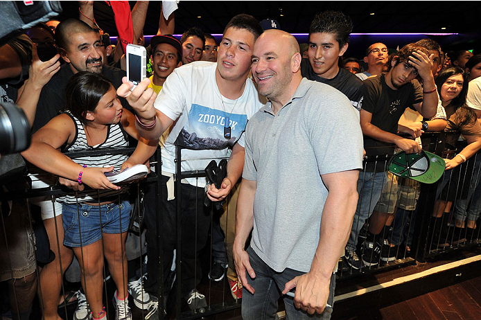 LOS ANGELES, CA - JULY 30:  UFC president Dana White interacts with fans during the UFC World Tour 2013 press conference at Club Nokia at L.A. Live on July 30, 2013 in Los Angeles, California.  (Photo by Jeff Bottari/Zuffa LLC/Zuffa LLC via Getty Images)