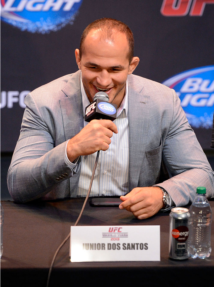 LOS ANGELES, CA - JULY 30:  Junior Dos Santos interacts with the media during the UFC World Tour 2013 press conference at Club Nokia at L.A. Live on July 30, 2013 in Los Angeles, California.  (Photo by Jeff Bottari/Zuffa LLC/Zuffa LLC via Getty Images)