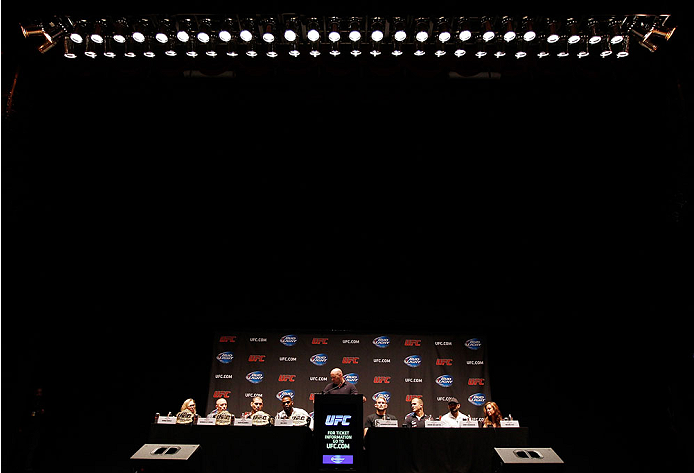 NEW YORK, NY - JULY 31:  UFC president Dana White hosts a press conference live with UFC heavyweight champion Cain Velasquez, Junior Dos Santos, UFC light heavyweight champion Jon Jones, Alexander Gustafsson, UFC welterweight champion Georges St-Pierre, Johny Hendricks, UFC women's bantamweight champion Ronda Rousey and Miesha Tate at Beacon Theatre on July 31, 2013 in New York City.  (Photo by Mike Stobe/Zuffa LLC/Zuffa LLC via Getty Images)