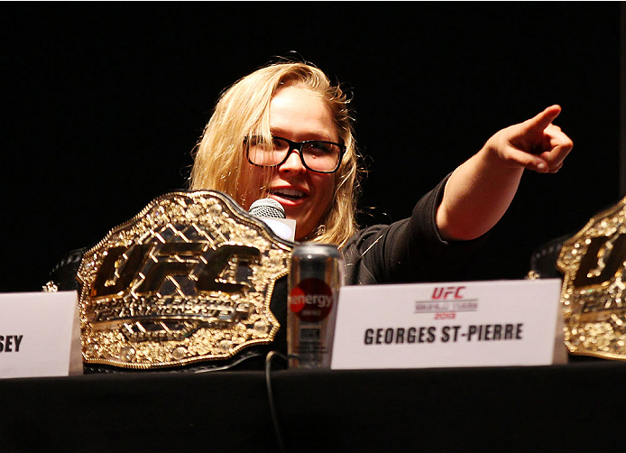 NEW YORK, NY - JULY 31:  UFC women's bantamweight champion Ronda Rousey interacts with fansduring a press confernce at the Beacon Theatre on July 31, 2013 in New York City.  (Photo by Mike Stobe/Zuffa LLC/Zuffa LLC via Getty Images)