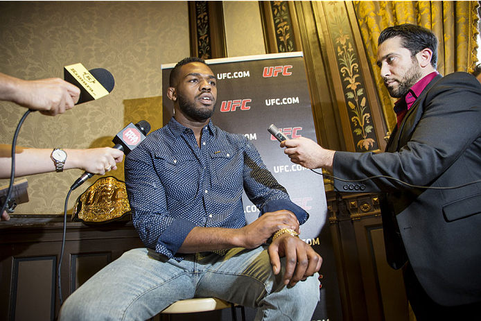 STOCKHOLM, SWEDEN - AUGUST 01:  Jon Jones of USA is interviewed during a UFC press tour event with Alexander Gustafsson of Sweden (not pictured) on August 01, 2013 in Stockholm, Sweden.  (Photo by Gustav Martensson/Zuffa LLC/Zuffa LLC via Getty Images)