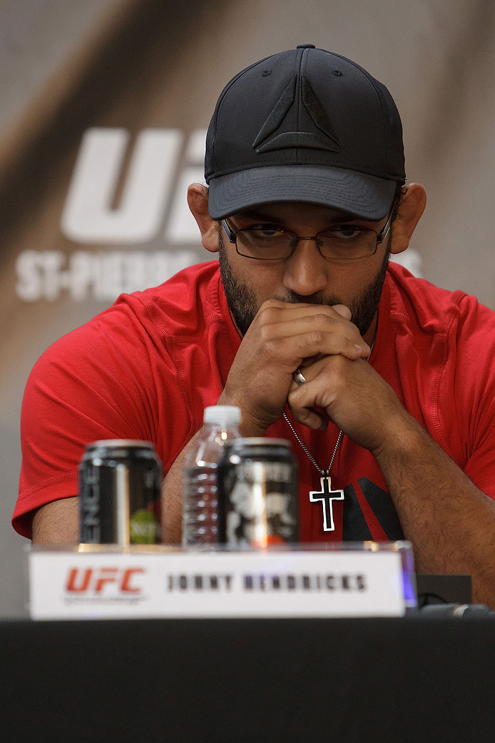 MONTREAL, CANADA - AUGUST 1: Johny Hendricks looks on during the Georges St Pierre and Johny Hendricks Press Tour on August 1, 2013 in Montreal, Quebec, Canada. (Francois Laplante/Zuffa LLC via Getty Images)