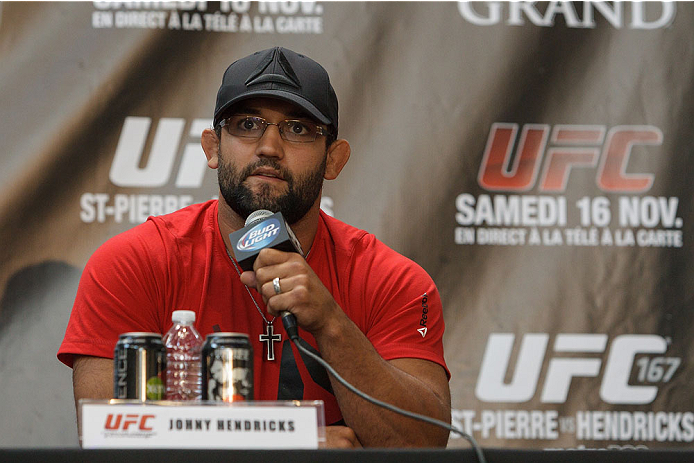 MONTREAL, CANADA - AUGUST 1: Johny Hendricks speaks to medias and fans during the Georges St Pierre and Johny Hendricks Press Tour on August 1, 2013 in Montreal, Quebec, Canada. (Francois Laplante/Zuffa LLC via Getty Images)