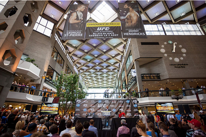 MONTREAL, CANADA - AUGUST 1: An overall view of the press conference at Complexe Desjardins during the Georges St Pierre and Johny Hendricks Press Tour on August 1, 2013 in Montreal, Quebec, Canada. (Francois Laplante/Zuffa LLC via Getty Images)