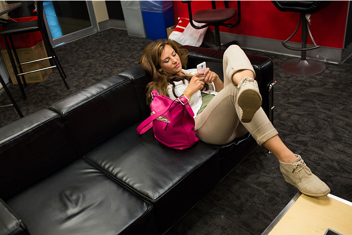 BRISTOL, CT - AUGUST 1: UFC bantamweight fighter Miesha Tate waits in the Green Room at ESPN's headquarters on August 1, 2013 in Bristol, Connecticut. Tate will battle bantamweight champion Ronda Rousey in December for the title. The two were interviewed on Sportscenter, by ESPN.com, by ESPN W, on the Dan Lebatard Show and on ESPN Deportes. (Photo by Christopher Capozziello/Zuffa LLC via Getty Images)