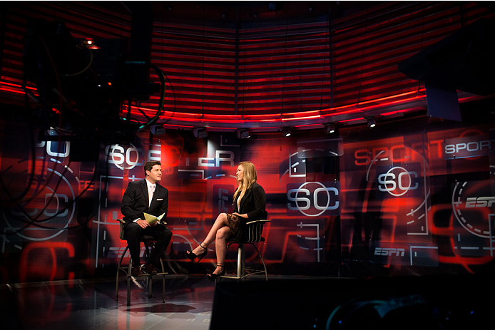 BRISTOL, CT - AUGUST 1: UFC bantamweight champion Ronda Rousey is interviewed on Sportscenter by Doug Kezirian, on August 1, 2013, at ESPN's headquarters in Bristol, Connecticut. Rousey will fight  Miesha Tate in Decmeber in a title bout. The two were interviewed on Sportscenter, by ESPN.com, by ESPN W, on the Dan Lebatard Show, and on ESPN Deportes. (Photo by Christopher Capozziello/Zuffa LLC via Getty Images).