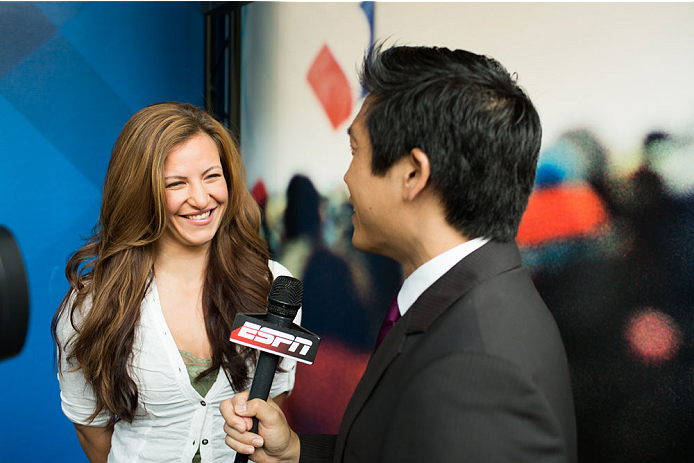 BRISTOL, CT - AUGUST 1: UFC bantamweight fighter Miesha Tate is interviewed by Bram Weinstein at ESPN's headquarters August 1, 2013, in Bristol, Connecticut. Tate will battle bantamweight champion Ronda Rousey in December for the title. The two were interviewed on Sportscenter, by ESPN.com, by ESPN W, on the Dan Lebatard Show and on ESPN Deportes. (Photo by Christopher Capozziello/Zuffa LLC via Getty Images).