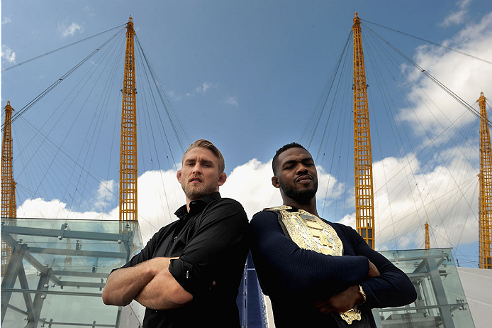 LONDON, ENGLAND - AUGUST 02:  Alex Gustafsson (L) and Jon Jones pose for the camera at the O2 Arena during the Jon Jones and Alex Gustafsson Press Tour on August 2, 2013 in London, England.  (Photo by Christoper Lee/Zuffa LLC/Zuffa LLC via Getty Images)