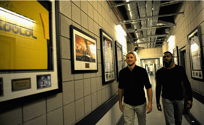 LONDON, ENGLAND - AUGUST 02:  Alex Gustafsson (L) and Jon Jones take a tour of the O2 Arena during the Jon Jones and Alex Gustafsson Press Tour on August 2, 2013 in London, England.  (Photo by Christoper Lee/Zuffa LLC/Zuffa LLC via Getty Images)