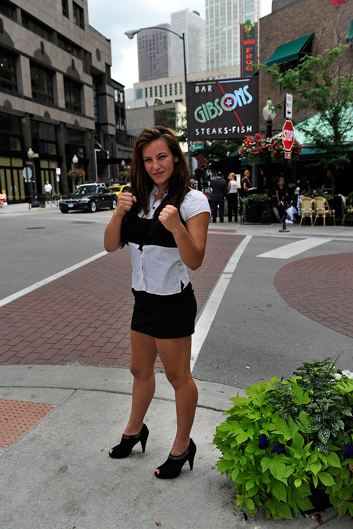 CHICAGO, IL - AUGUST 02: Miesha Tate poses for a photo during the Ronda Rousey and Miesha Tate Press Tour on August 2, 2013 in Chicago, Illinois.   (Photo by David Banks/Zuffa LLC/Zuffa LLC via Getty Images)
