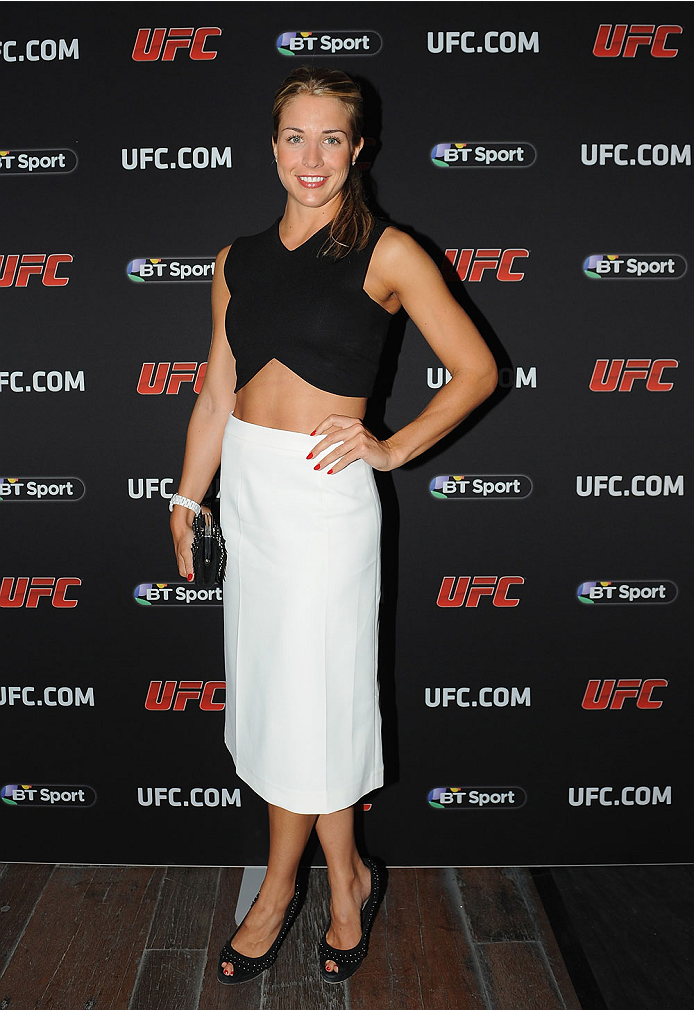 LONDON, ENGLAND - AUGUST 03:  Actress Gemma Atkinson atttends the Paramount Club during the Jon Jones and Alex Gustafsson Press Tour of London on August 3, 2013 in London, England.  (Photo by Christopher Lee/Zuffa LLC/Zuffa LLC via Getty Images)