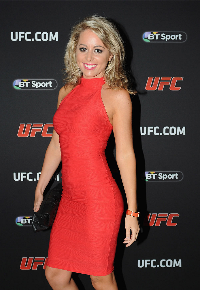 LONDON, ENGLAND - AUGUST 03:  Carly Baker atttends the Paramount Club during the Jon Jones and Alex Gustafsson Press Tour of London on August 3, 2013 in London, England.  (Photo by Christopher Lee/Zuffa LLC/Zuffa LLC via Getty Images)