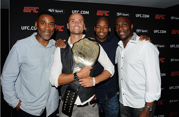 LONDON, ENGLAND - AUGUST 03:  Andy Turner (2nd L), Marlon Devonish and Derek Redmond at the Paramount Club during the Jon Jones and Alex Gustafsson Press Tour of London on August 3, 2013 in London, England.  (Photo by Christopher Lee/Zuffa LLC/Zuffa LLC via Getty Images)