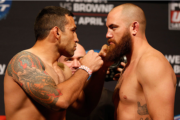 ORLANDO, FL - APRIL 18:  (L-R) Opponents Fabricio Werdum and Travis Browne face off during the FOX UFC Saturday weigh-in at the Amway Center on April 18, 2014 in Orlando, Florida. (Photo by Josh Hedges/Zuffa LLC/Zuffa LLC via Getty Images)