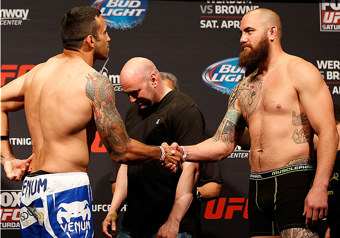 ORLANDO, FL - APRIL 18:  (L-R) Opponents Fabricio Werdum and Travis Browne shake hands during the FOX UFC Saturday weigh-in at the Amway Center on April 18, 2014 in Orlando, Florida. (Photo by Josh Hedges/Zuffa LLC/Zuffa LLC via Getty Images)