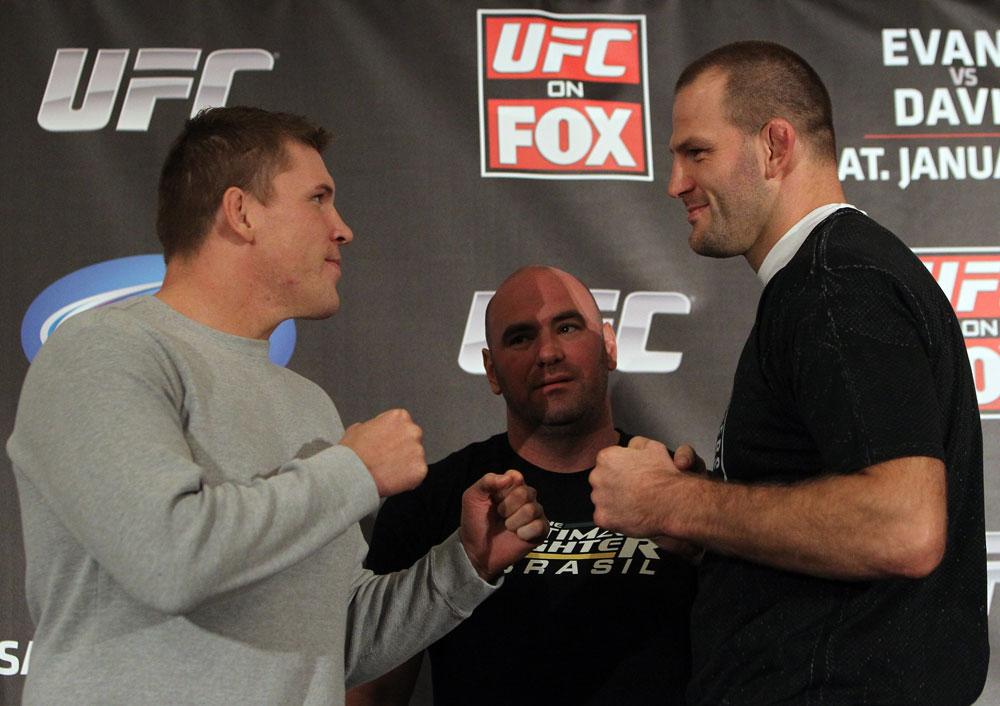CHICAGO, IL - JANUARY 26:  (L-R) Heavyweight opponents Mike Russow and Jon-Olav Einemo face off during the UFC on FOX press conference at the W Hotel on January 26, 2012 in Chicago, Illinois.  (Photo by Josh Hedges/Zuffa LLC/Zuffa LLC via Getty Images) *** Local Caption *** Mike Russow; Jon-Olav Einemo