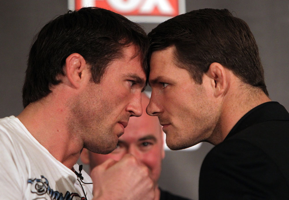 CHICAGO, IL - JANUARY 26:  (L-R) Middleweight opponents Chael Sonnen and Michael Bisping face off during the UFC on FOX press conference at the W Hotel on January 26, 2012 in Chicago, Illinois.  (Photo by Josh Hedges/Zuffa LLC/Zuffa LLC via Getty Images) *** Local Caption *** Chael Sonnen; Michael Bisping