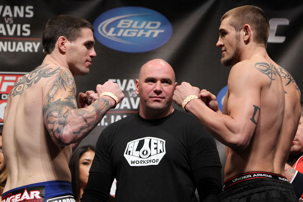 CHICAGO, IL - JANUARY 27:  (L-R) Middleweight opponents Chris Camozzi and Dustin Jacoby face off after weighing in during the UFC on FOX official weigh in at the Chicago Theatre on January 27, 2012 in Chicago, Illinois.  (Photo by Josh Hedges/Zuffa LLC/Zuffa LLC via Getty Images) *** Local Caption *** Chris Camozzi; Dustin Jacoby; Dana White