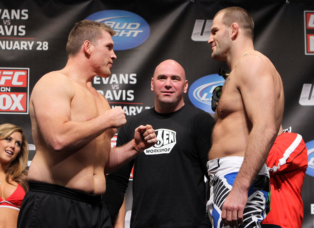 CHICAGO, IL - JANUARY 27:  (L-R) Heavyweight opponents Mike Russow and Jon-Olav Einemo face off after weighing in during the UFC on FOX official weigh in at the Chicago Theatre on January 27, 2012 in Chicago, Illinois.  (Photo by Josh Hedges/Zuffa LLC/Zuffa LLC via Getty Images) *** Local Caption *** Mike Russow; Jon-Olav Einemo; Dana White