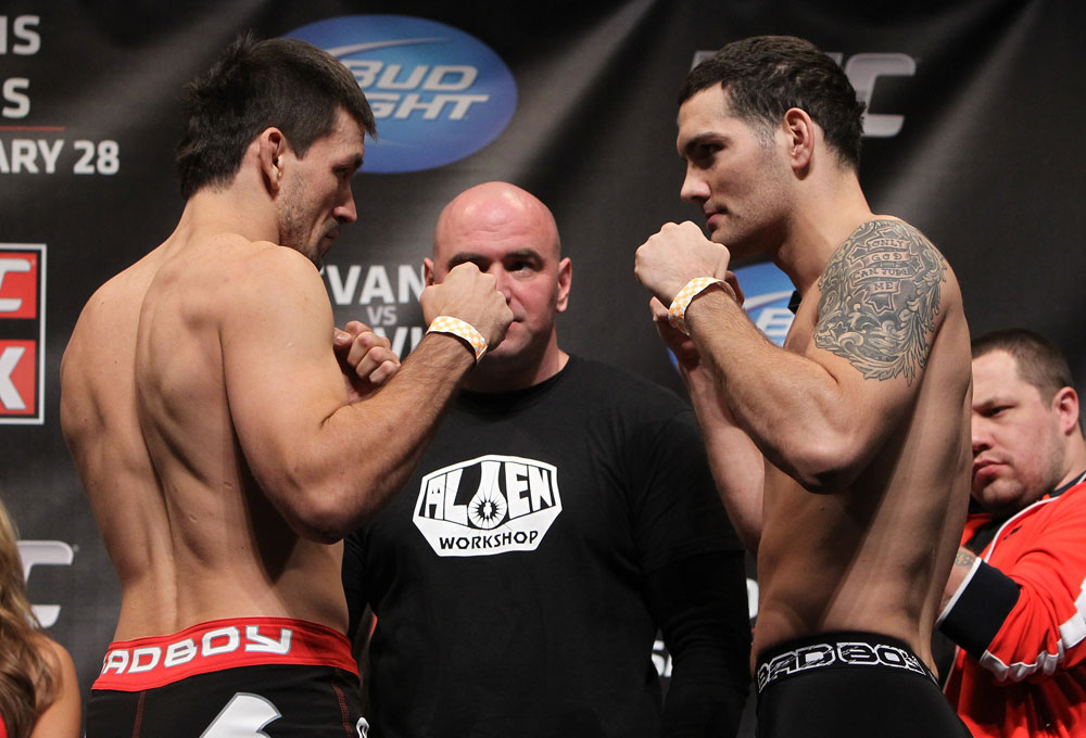 CHICAGO, IL - JANUARY 27:  (L-R) Middleweight opponents Demian Maia and Chris Weidman face off after weighing in during the UFC on FOX official weigh in at the Chicago Theatre on January 27, 2012 in Chicago, Illinois.  (Photo by Josh Hedges/Zuffa LLC/Zuffa LLC via Getty Images) *** Local Caption *** Demian Maia; Chris Weidman
