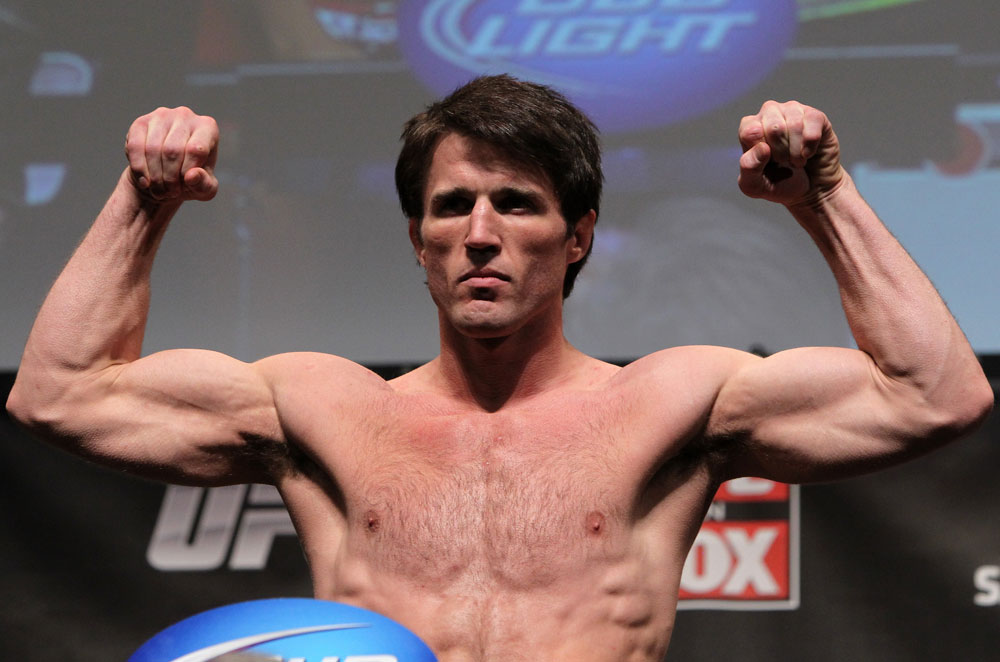 CHICAGO, IL - JANUARY 27:  Chael Sonnen weighs in during the UFC on FOX official weigh in at the Chicago Theatre on January 27, 2012 in Chicago, Illinois.  (Photo by Josh Hedges/Zuffa LLC/Zuffa LLC via Getty Images) *** Local Caption *** Chael Sonnen