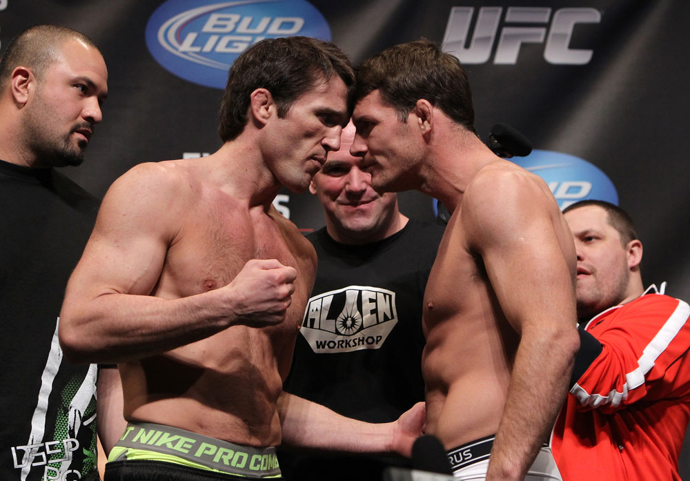 CHICAGO, IL - JANUARY 27:  (L-R) Middleweight opponents Chael Sonnen and Michael Bisping face off after weighing in during the UFC on FOX official weigh in at the Chicago Theatre on January 27, 2012 in Chicago, Illinois.  (Photo by Josh Hedges/Zuffa LLC/Zuffa LLC via Getty Images) *** Local Caption *** Chael Sonnen; Michael Bisping