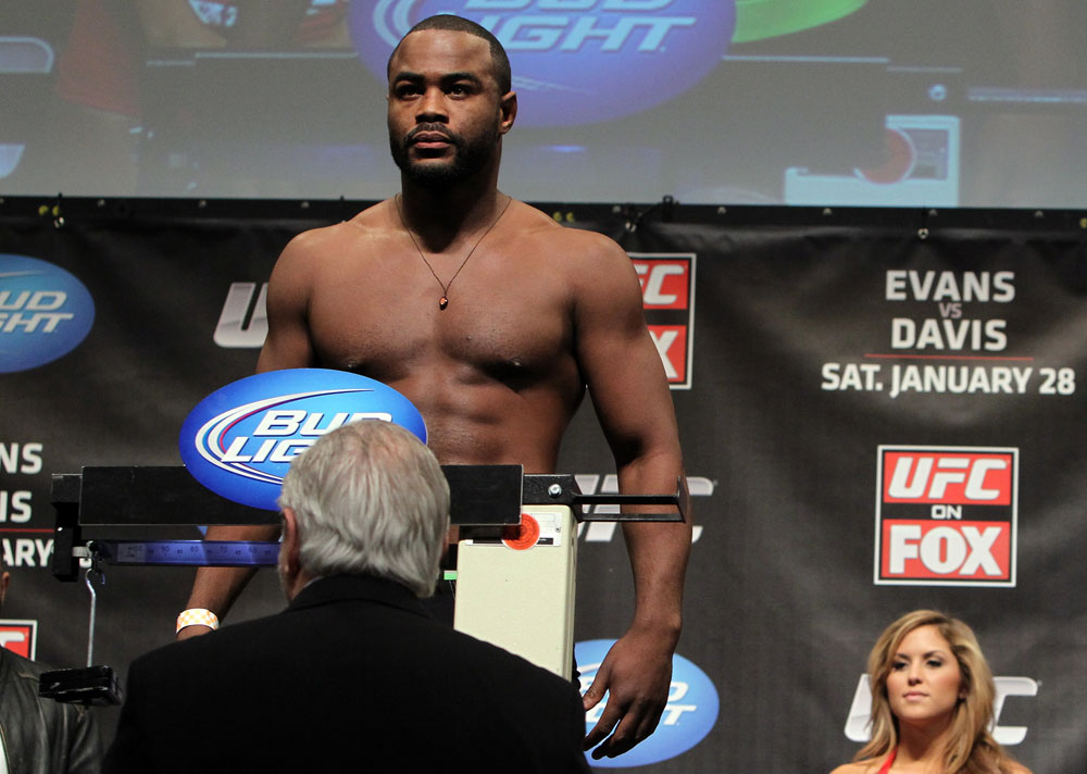 CHICAGO, IL - JANUARY 27:  Rashad Evans weighs in during the UFC on FOX official weigh in at the Chicago Theatre on January 27, 2012 in Chicago, Illinois.  (Photo by Josh Hedges/Zuffa LLC/Zuffa LLC via Getty Images) *** Local Caption *** Rashad Evans