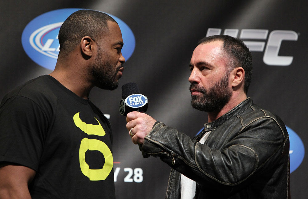 CHICAGO, IL - JANUARY 27:  Rashad Evans (L) is interviewed by Joe Rogan during the UFC on FOX official weigh in at the Chicago Theatre on January 27, 2012 in Chicago, Illinois.  (Photo by Josh Hedges/Zuffa LLC/Zuffa LLC via Getty Images) *** Local Caption *** Rashad Evans; Joe Rogan