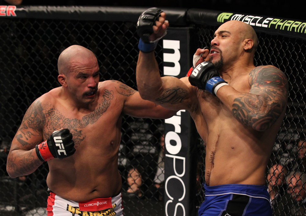 CHICAGO, IL - JANUARY 28:  (L-R) Joey Beltran and Lavar Johnson trade punches during the UFC on FOX event at United Center on January 28, 2012 in Chicago, Illinois.  (Photo by Nick Laham/Zuffa LLC/Zuffa LLC via Getty Images) *** Local Caption *** Lavar Johnson; Joey Beltran