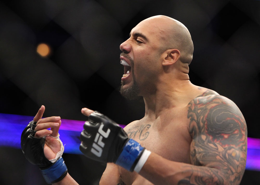 CHICAGO, IL - JANUARY 28:  Lavar Johnson reacts after knocking out Joey Beltran during the UFC on FOX event at United Center on January 28, 2012 in Chicago, Illinois.  (Photo by Josh Hedges/Zuffa LLC/Zuffa LLC via Getty Images) *** Local Caption *** Lavar Johnson