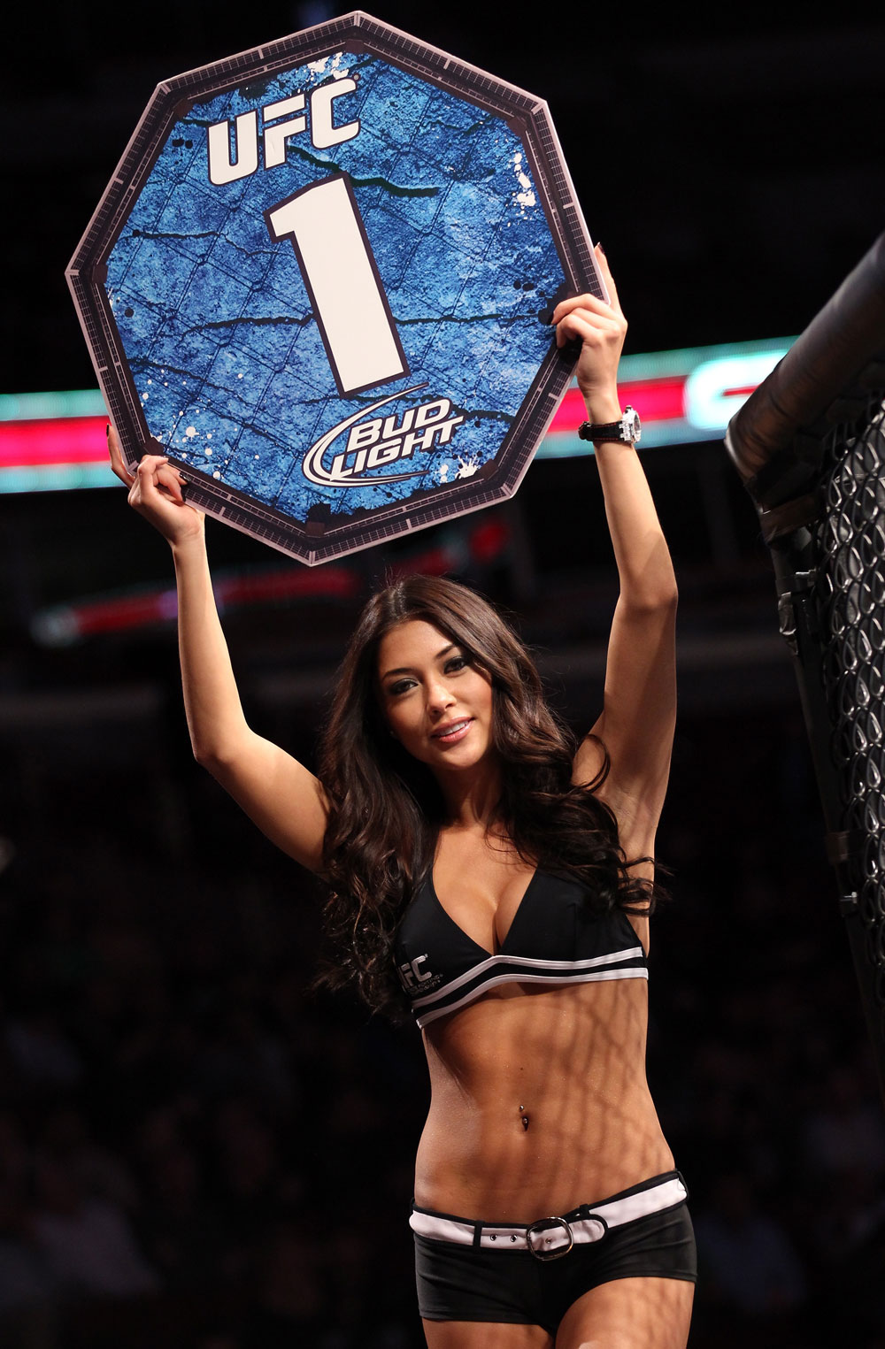 CHICAGO, IL - JANUARY 28:  UFC Octagon Girl Arianny Celeste introduces round 1 before the Camozzi vs Jacoby bout during the UFC on FOX event at United Center on January 28, 2012 in Chicago, Illinois.  (Photo by Nick Laham/Zuffa LLC/Zuffa LLC via Getty Images) *** Local Caption *** Arianny Celeste