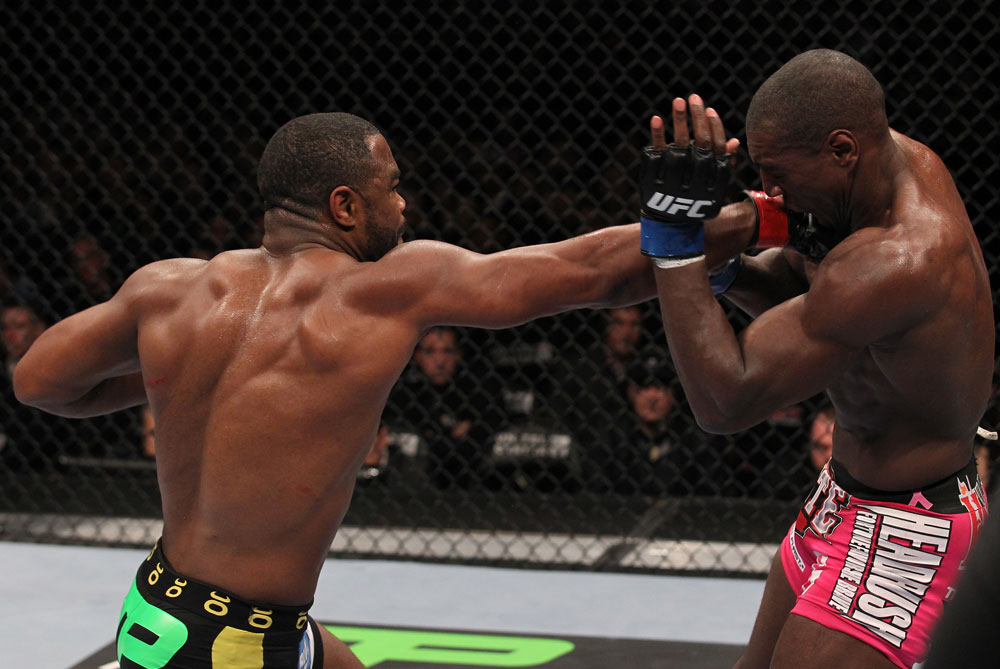 CHICAGO, IL - JANUARY 28:  (L-R) Rashad Evans punches Phil Davis during the UFC on FOX event at United Center on January 28, 2012 in Chicago, Illinois.  (Photo by Nick Laham/Zuffa LLC/Zuffa LLC via Getty Images) *** Local Caption *** Rashad Evans; Phil Davis