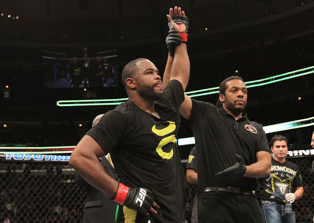 CHICAGO, IL - JANUARY 28:  Rashad Evans reacts after his victory over Phil Davis during the UFC on FOX event at United Center on January 28, 2012 in Chicago, Illinois.  (Photo by Josh Hedges/Zuffa LLC/Zuffa LLC via Getty Images) *** Local Caption *** Rashad Evans