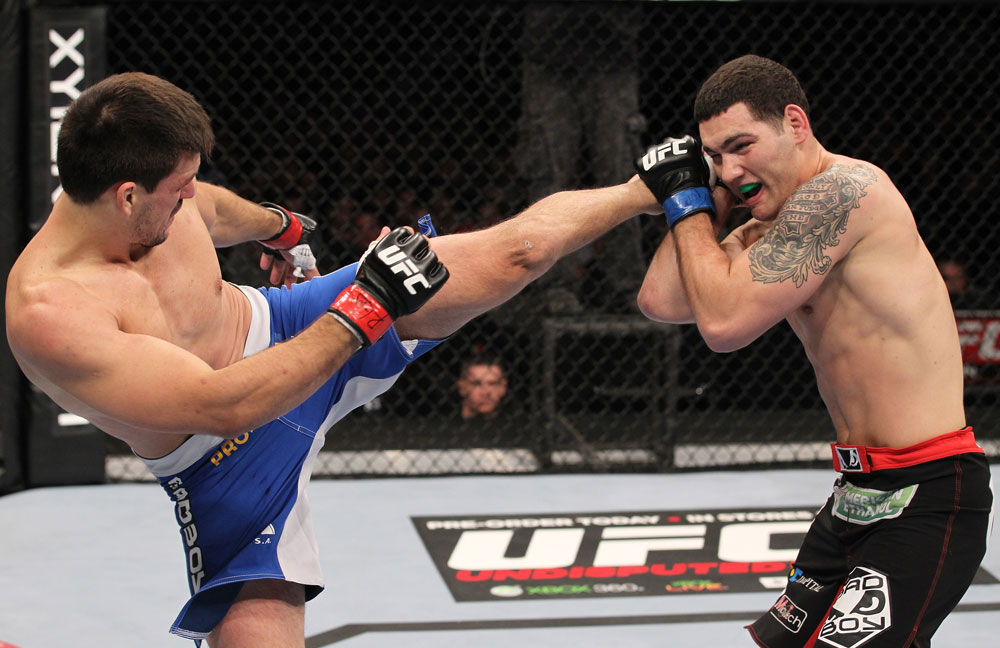 CHICAGO, IL - JANUARY 28:  (L-R) Demian Maia kicks Chris Weidman during the UFC on FOX event at United Center on January 28, 2012 in Chicago, Illinois.  (Photo by Nick Laham/Zuffa LLC/Zuffa LLC via Getty Images) *** Local Caption *** Chris Weidman; Demian Maia
