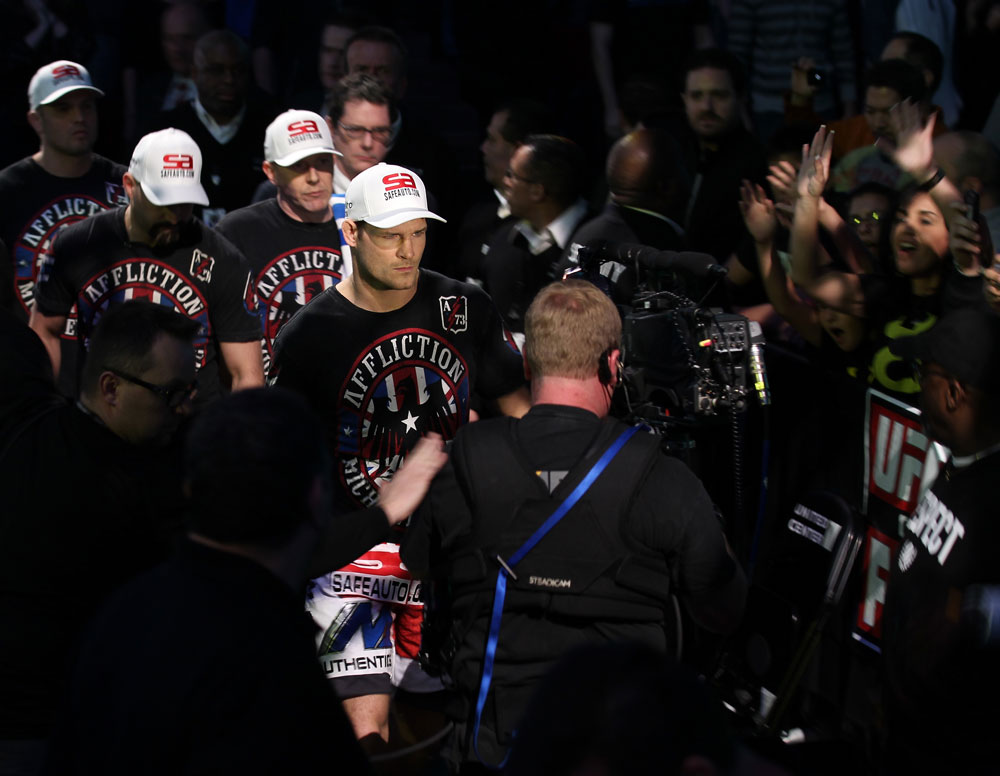 CHICAGO, IL - JANUARY 28:  Michael Bisping enters the arena before his bout against Chael Sonnen during the UFC on FOX event at United Center on January 28, 2012 in Chicago, Illinois.  (Photo by Nick Laham/Zuffa LLC/Zuffa LLC via Getty Images) *** Local Caption *** Michael Bisping
