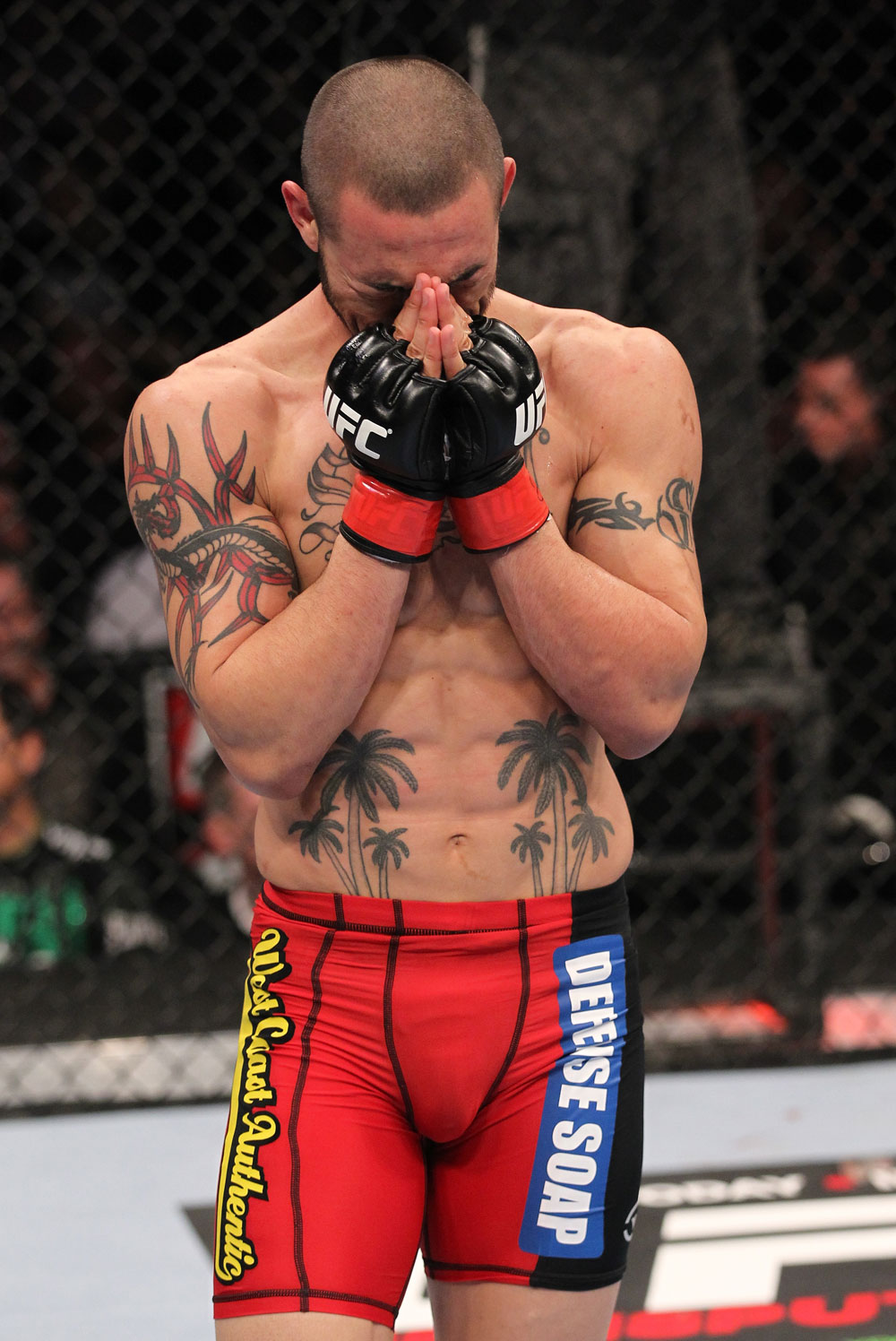 CHICAGO, IL - JANUARY 28:  Cub Swanson reacts after his knockout victory over George Roop during the UFC on FOX event at United Center on January 28, 2012 in Chicago, Illinois.  (Photo by Nick Laham/Zuffa LLC/Zuffa LLC via Getty Images) *** Local Caption *** Cub Swanson