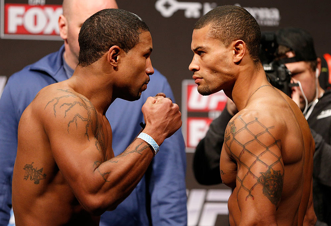 SEATTLE, WA - DECEMBER 07:  (L-R) Opponents Marcus LeVesseur and Abel Trujillo face off during the official UFC on FOX weigh in on December 7, 2012 at Key Arena in Seattle, Washington.  (Photo by Josh Hedges/Zuffa LLC/Zuffa LLC via Getty Images)